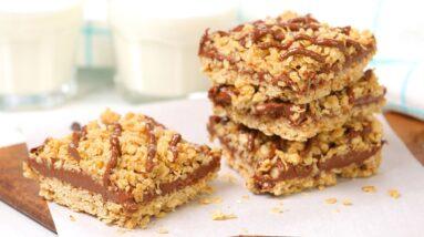 Chocolate Peanut Butter Oat Bars | No-Bake + Gluten Free!