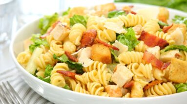 Make-Ahead Chicken Caesar Pasta Salad | Perfect for Meal Prepping!