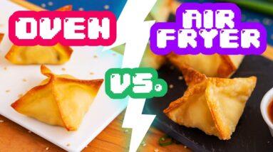 Oven vs. Air Fryer APPETIZERS – Wings, Mushrooms & Crab Rangoon!