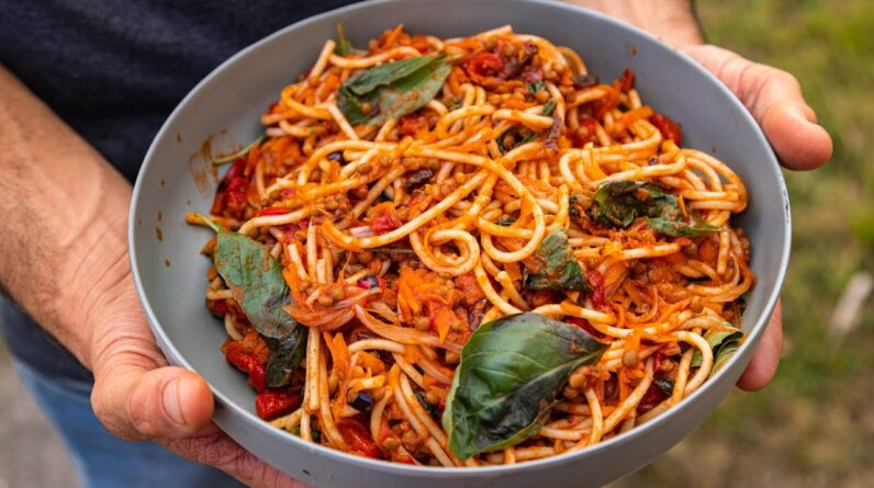Caponata style spaghetti bolognese