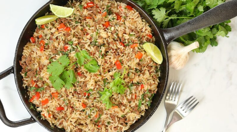 Chimichurri Beef & Rice Skillet | One Pot Easy Weeknight Dinner Recipe